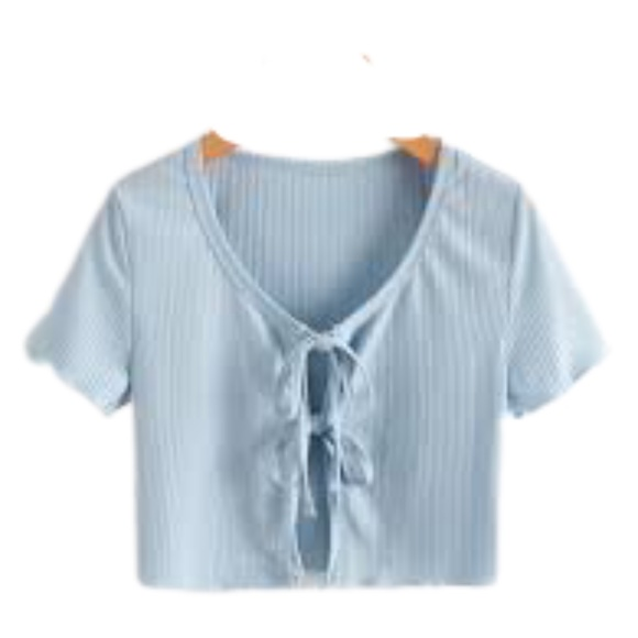 Zaful Solid Tie Front Ribbed Crop Top Light Blue